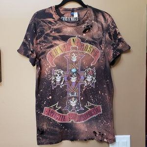 Guns N Roses bleached & distressed graphic tee
